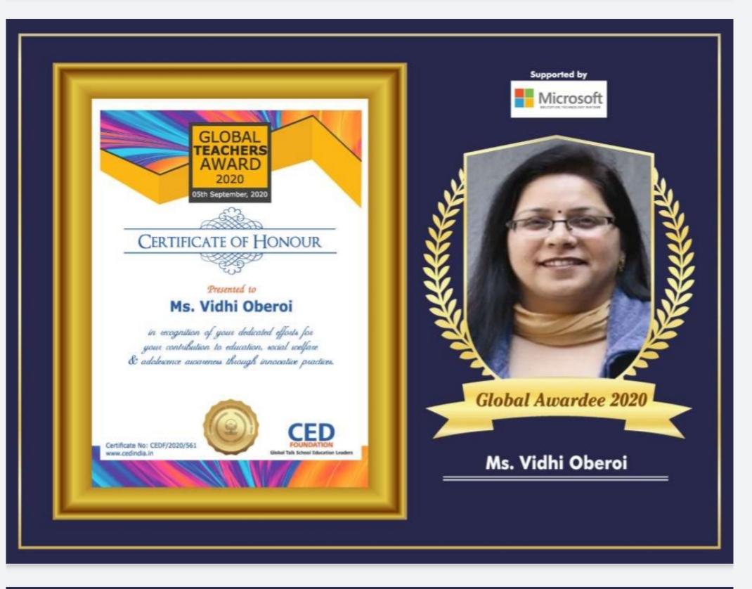 Global Teachers Award Vidhi Oberoi
